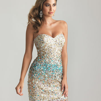 Blue & Nude Ombre Sequin Strapless Fitted Homecoming Dress - Unique Vintage - Prom dresses, retro dresses, retro swimsuits.