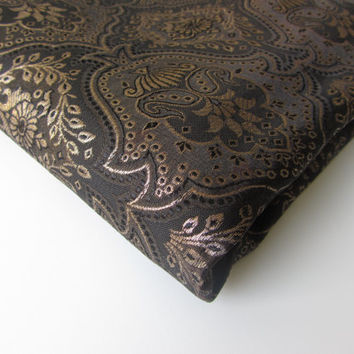Black gold super Indian wedding bridal silk brocade fabric nr 247 fat quarter