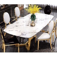 Golden Geometric   Metal Base  Dining Table Set