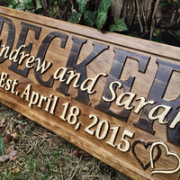 Personalized Wedding Gift Last Name Established Sign Family Name Signs Custom Wood Sign Carved Wood Sign 3D Hearts 5 Year Anniversary Gift