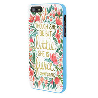 Red Flowers Though She Be But Little She Is iPhone 5 Case Framed Blue