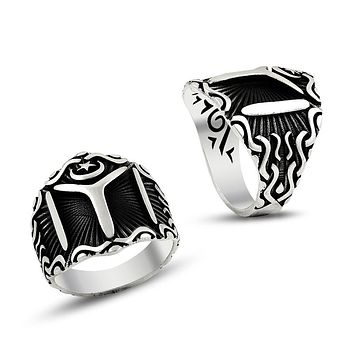 Turkish monogram sterling silver band mens ring
