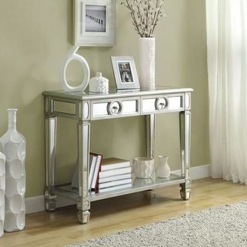 "Brushed Silver / Mirrored 38""L Sofa Console Table"