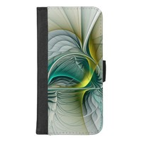 Fractal Evolution, Golden Turquoise Abstract Art iPhone 8/7 Plus Wallet Case