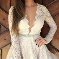 White Lace Long Sleeve V-Neck Flared Skirt Mini Dress