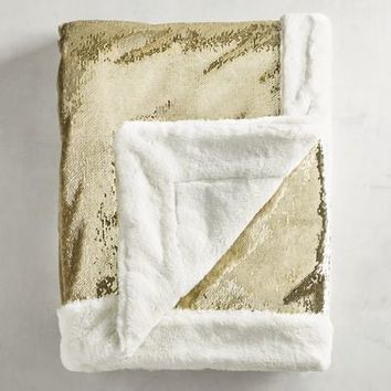 Gold & Ivory Reversible Sequined Mermaid Throw