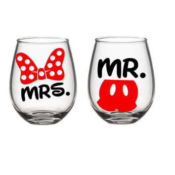 Mickey Mouse Wine Glass Set, His And Her Wine Glass Set,  Future Mrs Wine Glass