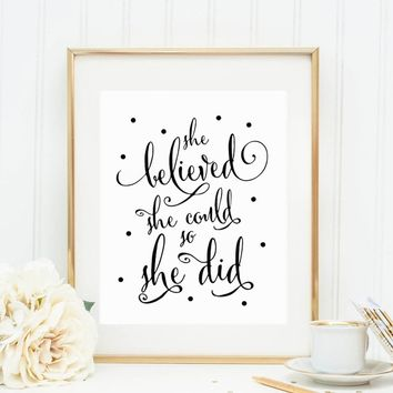 She Believed She Could So She Did Wall Art Inspirational Wall Decor Famous Women Quotes Text Living Room Black Dot White Words G