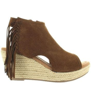VONES2C Minnetonka Blaire - Dusty Brown Suede Side Fringe Espadrille Platform/Wedge Sandal
