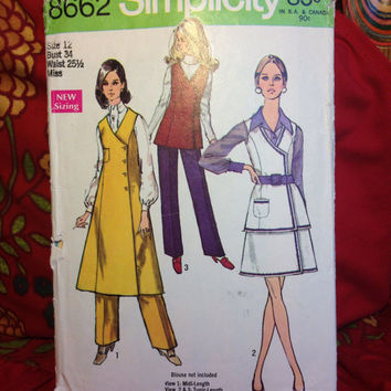 Misses' Midi-Jumper, Tunic, Front-Wrap Skirt and Pants Pattern Simplicity 8662 Cut and Complete- Vintage 1960's