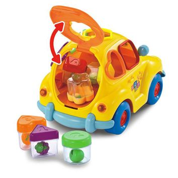 DCCKL72 Baby Car Toy with Flashing Front and Back Lights and Music,Bump and Go Learn Fruit Shape Sorter,Electric Cars For Baby Children