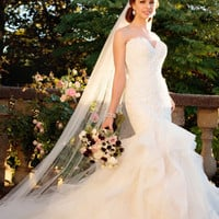 New Arrival Sweetheart Tulle Mermaid Wedding Dresses 2017 Lace Off Shoulder Backless Sweep Train Plus Size Bridal Dresses X-276