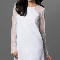 Short White Long Sleeve Dress by BCBGeneration