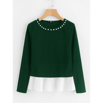 Pearl Beading Neck Contrast Trim Top Green