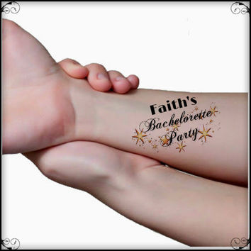 Temporary Tattoo Bachelorette Party 6 Custom Wrist Tattoos Thin Durable