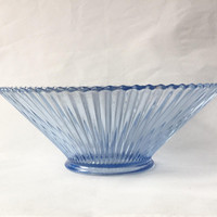 Blue Glass Bowl, Ribbed Glass Bowl, Centerpiece, Console Bowl, Ice Blue Glass, Vertical Rib