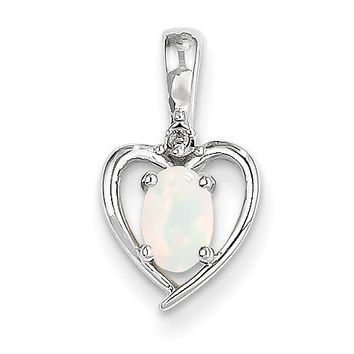 14k White Gold Genuine Oval Australian Opal and Diamond Heart Pendant