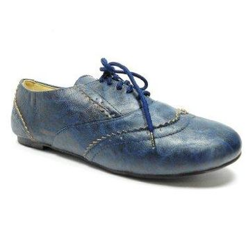 Women's Maya-04 Lace Up Blucher Wing Tip Oxfords Shoes