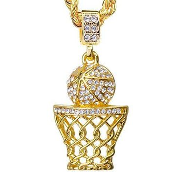 SPBEST BALL IS LIFE 14kt Gold Plated Mini Basketball Rim Pendant 4 mm & 24 inch Rope Chain