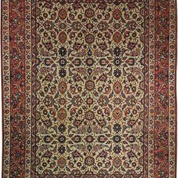 All-Over Floral 8 x 11 Rug Genuine Hand-Knotted Carpet Vintage Mint Condition
