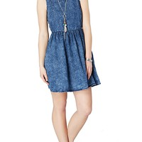 Faux Crackled Chambray Skater Dress