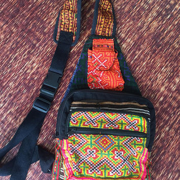 Boho Patchwork sling cross body backpack bag Hippie patchwork design Hippie Festival fashion Travel Vegan cycling gifts men women handmade