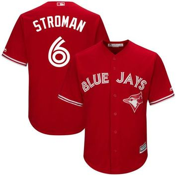 Men's Toronto Blue Jays Marcus Stroman Majestic Scarlet 2017 Cool Base Replica Player Jersey