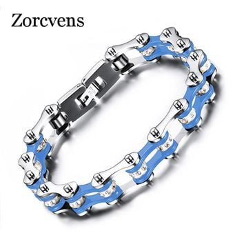 ZORCVENS Fashion Bracelet Men Stainless Steel Biker Bicycle Motorcycle Chain Bracelets Bangles Jewelry