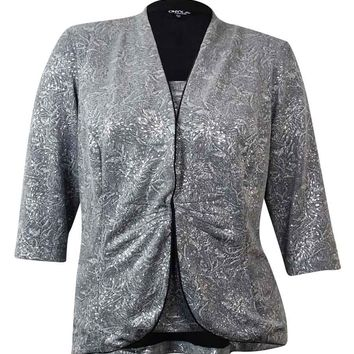 Onyx Women's 2PC Metalic Shimmer Blouse Set