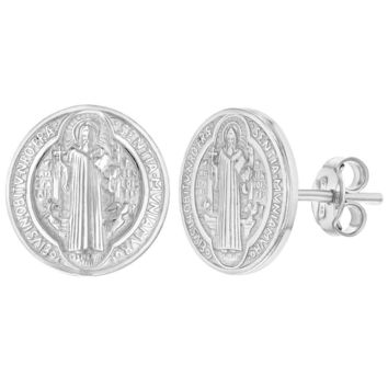 925 Sterling Silver Protection San Benito Saint Benedict Earrings for Ladies