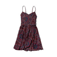 Pattern Wrap Front Skater Dress