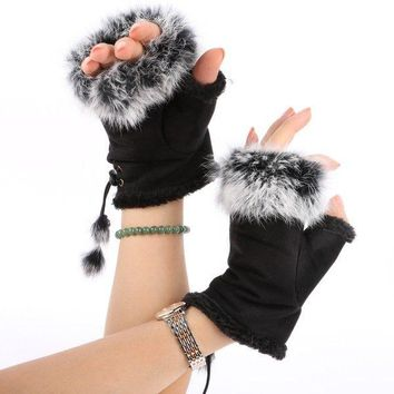 Lady Womens Winter Warm Gloves Mittens Fingerless Faux Fur Hand Wrist Gloves USA