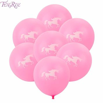 FENGRISE 10 Pieces Unicorn Balloon Birthday Party Decorations For Kids Cartoon Animal Inflatable Latex Balloons Party Favors
