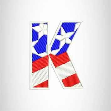 K Alphabet Letters of US Flag Iron on Small Patch for Biker Vest