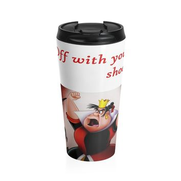 Stainless Steel Travel Mug with Alice in Wonderland Queen of Hearts Art Print