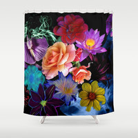 Colorful Fractal Flowers Shower Curtain by Smyrna