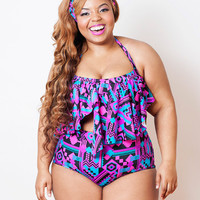 Black Aztec Serengeti Swimsuit Top S M L 1X 2X 3X