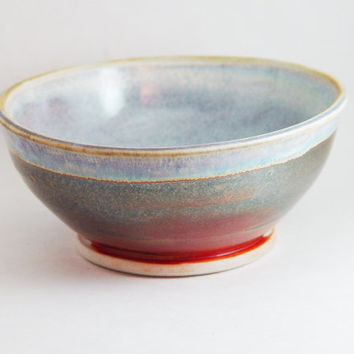 "Porcelain Cereal Bowl, Copper & Light Blue colors, ""Good Morning"", Kitchen Serving dish Soup 6 inch, Wheel Thrown pottery ceramic"