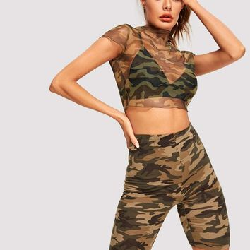 Camo Sheer Mesh Crop Top Without Bralette