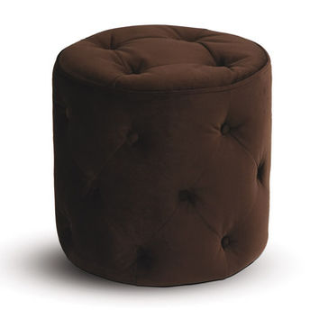 Office Star Avenue Six Curves Tufted Round Ottoman in Chocolate Velvet Fabric