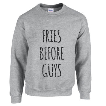 Black Glitz Print! Fries Before Guys, Unisex Sweatshirt