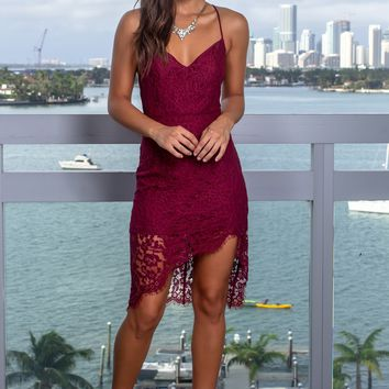Burgundy Lace Short Dress with Strappy Back