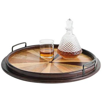 Maison Home Virginia Brown Round Wood Tray - #9W852 | Lamps Plus