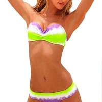 Latest Women's Sexy Bikini 2 Pcs Green White Purple To Mix Strapless Swimsuit