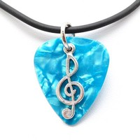 Guitar Pick Necklace with Music Clef Note Charm on Blue Guitar Pick Unique Design By Atlantic Seaboa