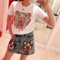 """Kenzo"" Women All-match Fashion Hot Fix Rhinestone Letter Pattern Short Sleeve T-shirt Top Tee"