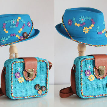 Handmade Hat and Bag Set / Blue / 2015