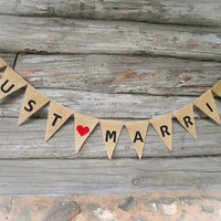 Just Married Sign Just Married Banner Just Married Bunting Just Married Car Sign Wedding Banner Wedding Decor Burlap Banner