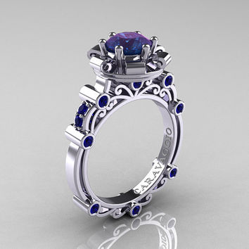 Caravaggio 14K White Gold 2.0 Ct Alexandrite Blue Sapphire Engagement Ring R631-14KWGBSAL