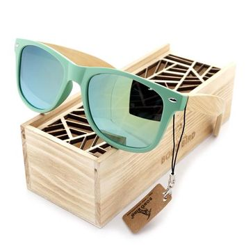 BOBO BIRD Green Frame Bamboo Sunglasses with Mirrored Lenses